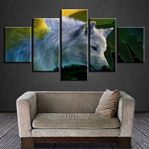 adgkitb canvas Neue Fünf Stücke Leinwandbild Dekorative Malerei Hd Abstrakte Kunst Tier Wolf High-end Home Leisure Club Wandbild -