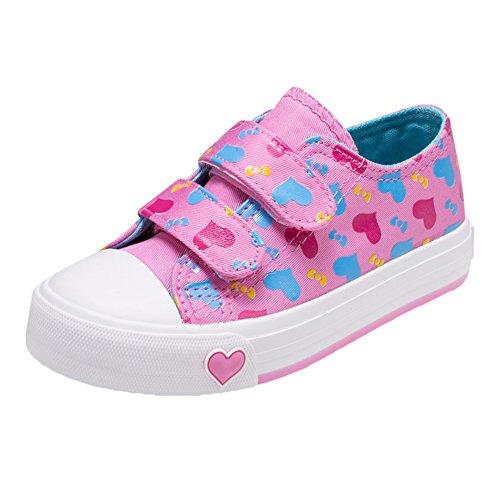 Scothen Kinderschuhe Sportschuhe Turnschuhe Halbschuhe Schuhe Kids Schuhe für Mädchen Canvas Kinder Schuhe Laufen Sport Baby Turnschuhe Sneaker Leinenschuhe Baby Segeltuch beiläufige Spitzeschuhe Rosa