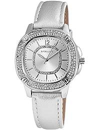Excellanc llanc Mujer Reloj con piel imitations pulsera color plata con cristales brillantes Moderno elegante mujer reloj de pulsera