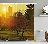 JIEKEIO Nature Shower Curtain, Sunset Over The City Park Colorado Skyline Autumn Theme Scenic Picture, Fabric Bathroom Decor Set with Hooks, 60W X 72L Inches Long, Fern Green Dark Orange