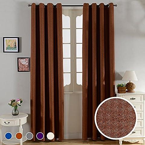 Top Finel cortina termica aislante de tratamientos para ventana panele imitacion de lino s¨®lido Blackout/opaca con ojales arriba,marron,140 x 215,Solo