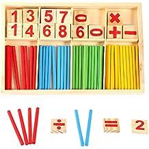 Matemáticas con números caja colorido palillos juegos educativos bloques de construcción contar palos para niños preschool