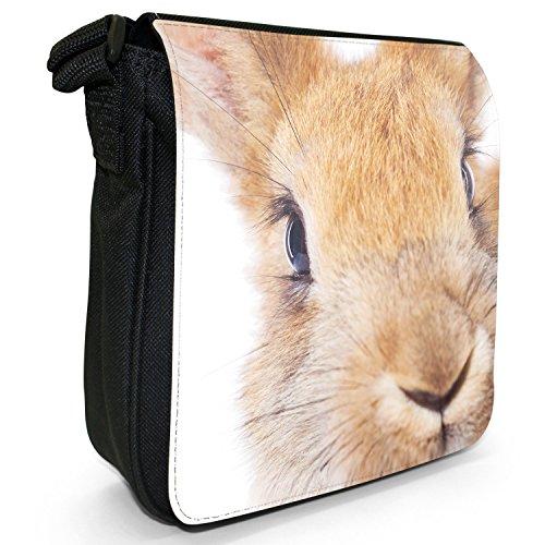 Kaninchen Hasen Kleine Schultertasche aus schwarzem Canvas Kaninchen Hase Rot