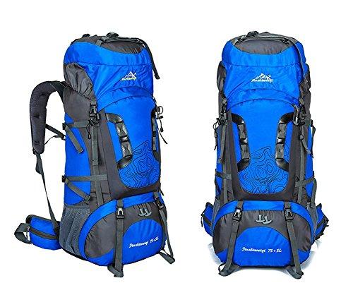 75L + 5L grande impermeabile di Camp Hike zaino da viaggio teengers alpinismo Climb Borse Pack per Uomini Donne , green navy blue