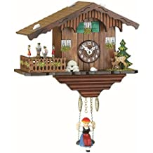 Kuckulino Black Forest Clock Swiss House with quartz movement and cuckoo chime, turning dancers, incl. batterie TU 2019 SQ by Trenkle Uhren