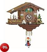 Kuckulino Orologio dalla Foresta Nera in miniatura casa svizzera al quarzo con chiamo del cuculo, ballerini che si girano, incl. batteria TU 2019 SQ