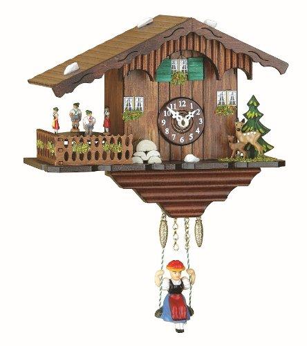 Trenkle Kuckulino Reloj en miniatura de la selva negra casa suiza cuarzo con llamada del cucú, bailarines que dan vuelta TU 2019 SQ