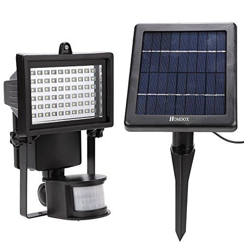 Homdox Solar 60 LED Außenleuchte Strahler Solarleuchte Fluter Solarlicht mit Bewegungsmelder IP65