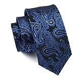 Hi-Tie Männer Klassische Krawatte Krawatte mit Manschettenknöpfe und Einstecktuch Krawattenset