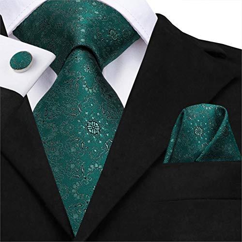 FDHFC 100% Seide Hochzeit Krawatten Floral Herren Grüne Krawatte Einstecktuch Manschettenknöpfe Set Klassische Party Business Krawatte Set Business-krawatte