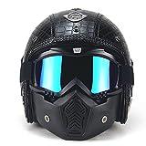PU Cuir Visage Complet Harley Helm Super PDR 3/4 Casque Moto Scooter Visière ouverte de casque de vélo avec le masque de masque pour toute l'année autour (Noir Style 1, M(57-58cm))