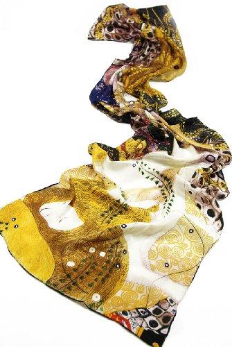 Prettystern P746 - 160cm lang reine Seide Schal Gustav Klimt - Water Snakes / Wasser Schlange