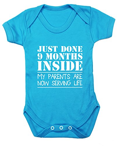 Hippowarehouse Just Done Nine Months Inside My Parents Are Now Serving Life Baby Vest Bodysuit (Short Sleeve) Boys Girls
