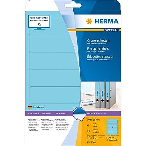 Herma 5093 Ordnerrücken Etiketten schmal/kurz, blickdicht (192 x 38 mm auf DIN A4 Papier matt) 140 Stück auf 20 Blatt, blau, selbstklebend