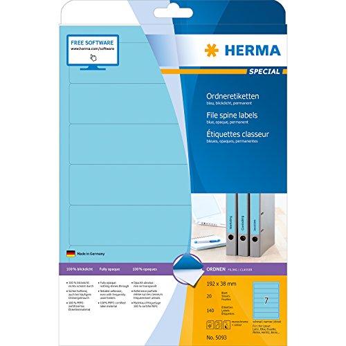 Preisvergleich Produktbild Herma 5093 Ordnerrücken Etiketten schmal/kurz, blickdicht (192 x 38 mm auf DIN A4 Papier matt) 140 Stück auf 20 Blatt, blau, selbstklebend