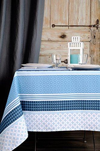 Stof - Nappe enduite carrée SOCCOA - 100% Coton - Bleu - 155x155 cm