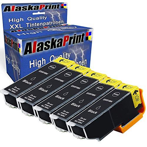 5XL Cartucce compatibili per Epson 33XL 33 Nero con Epson XP-640 XP-530 XP-830 XP-645 XP-540 XP-900 XP-630 XP-635,T3351 con nuovi chip (5X Nero)