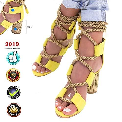 Verano Tacón Sandalias Alto Cuña Alpargatas Plataformas Mujer Cuero Punta Abierta Zapatos Correa Romanas...