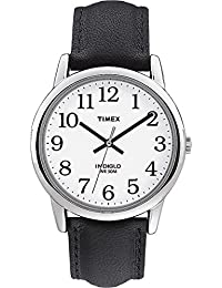 Timex Men's T20501 Quartz Easy Reader Watch with White Dial Analogue Display and Black Leather Strap