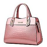 G-AVERIL Damen Lack Leder Handtasche/Damenhandtasche/Schultertasche/Crossbody Bag/Umhängetaschen/Henkeltasche Rosa