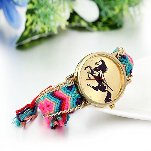 JewelryWe Geflochten Damen Armbanduhr,Seil Band Analog Quarz Uhr,Nationale Wind Retro Pferd Zifferblatt, Einstellbar Damenuhr,rosa grün