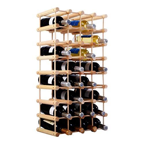 Costway portabottiglie in legno cantinetta portabottiglie di vino, in legno di pino, naturale, 102,5 x 24 x 33 cm