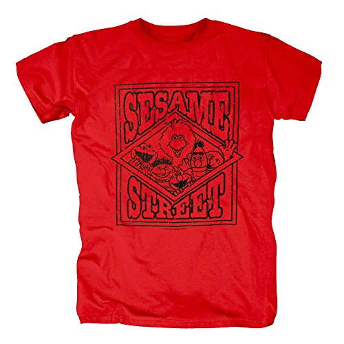 TSP Sesamstrasse Vintage Logo T-Shirt Herren S Rot (Bert Und Ernie Kostüme Billig)