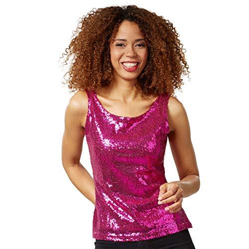 dressforfun 901014 Damen Pailletten Top, Glitzer Sparkle Trägershirt, pink - Diverse Größen - (L | Nr. 303768)