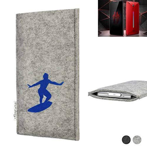flat.design Handy Hülle FARO für Nubia Red Magic Mars Made in Germany Handytasche Filz Tasche Case Surfer blau fair