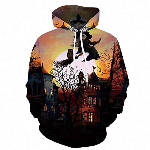 Herren Sweatshirt Top Herbst Langarm Plaid Hoodie Mit Kapuze T-Shirt OutwearKürbis Ghost Print WY-1226 L