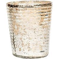 Dimensioni: 45 x 45 x 10 cm, per porta lumini in vetro a coste-Mercury, argento con effetto invecchiato in alluminio, 18 cm, confezione da 24
