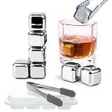 Edelstahl Eiswürfel - 8PCS SET Whisky Steine - Eiswürfelform mit Deckel und Zange- Wiederverwendbar Ice Cubes Whiskey Stones- Zertifizierung FDA & BPA-frei