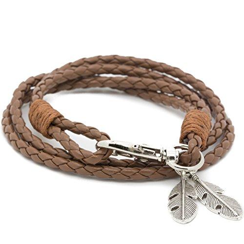 mese-london-camel-vikings-tresse-bracelet-tribal-corde-braded-avec-plumes-pendentif