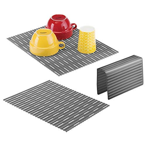 mDesign 3er-Set Spülbeckeneinlage aus Silikon – praktische Abtropfmatte zum Schutz gegen Kratzer – Schutzmatte für Doppelspülbecken – schiefergrau