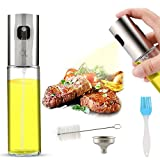 AJOXEL Ölsprüher Speiseöl,Öl Sprühflasche Edelstahl und Glas100 ml Oil Sprayer Olivenöl Sprayer Öl/Essig Spender Flasche Küche Werkzeug mit Bürste und Trichter für Salat/Pasta/Kochen/Grillrost