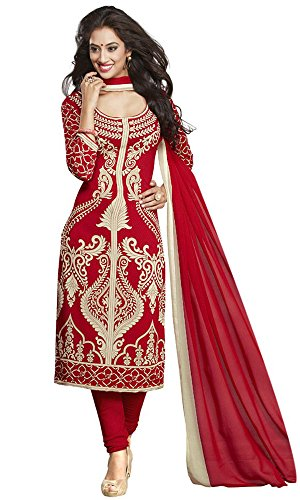 Dresses for women party wear Designer Dress Material Today best offers buy online in Low Price Sale Red Color Cotton Fabric Free Size New Salwar Suit