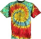 Guru-Shop Batik T-Shirt, Herren Kurzarm Tie Dye Shirt, Rot/grün Spirale, Baumwolle, Size:XXL, Rundhals Ausschnitt Alternative Bekleidung