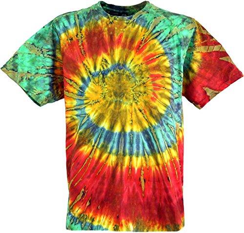 Guru-Shop Batik T Shirt, Herren Kurzarm Tie Dye Shirt, Rot/Grün Spirale, Baumwolle, Size:M, Rundhals Ausschnitt Alternative Bekleidung (Klein Herren Dye Tie)