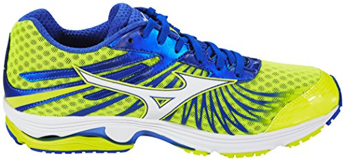 Mizuno Wave Sayonara 4, Chaussures de Running Compétition Homme safety yellow/white/dazzling blue