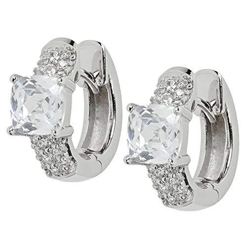 VIVENTY Damen-Ohrringe Klapp-Creolen aus Silber 925 mit Zirkonia
