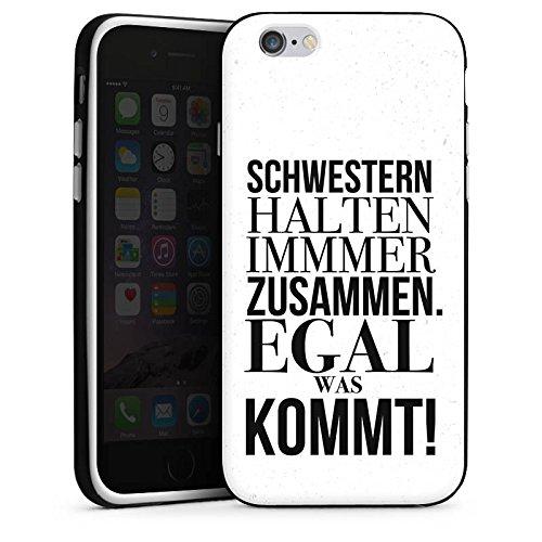 Apple iPhone X Silikon Hülle Case Schutzhülle Sprüche schwester Mädchen Silikon Case schwarz / weiß