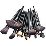 Black : Rioa 24pcs Professional Synthetic Hair Cosmetic Makeup Brush Set Kit Wood Brushes Tools Make Up With Case...