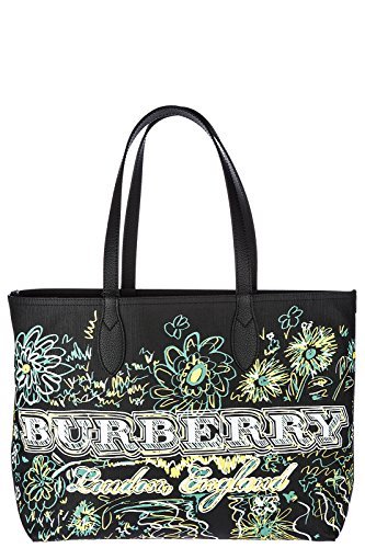Burberry Schultertasche Damen Tasche Umhängetasche Bag Schwarz (Burberry Handtasche Canvas)