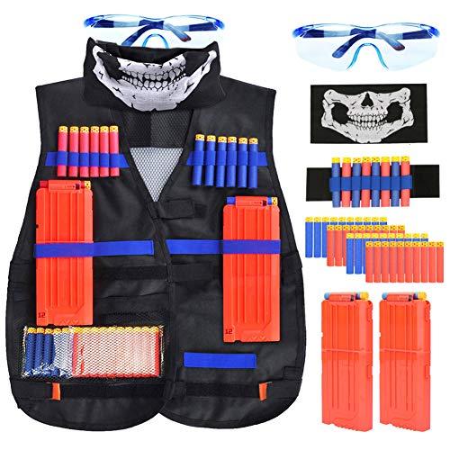 Vidillo Taktische Weste Jacke Set Für Nerf N-Strike Elite Blaster Toy Gun mit 40Pcs Darts Kugeln,2Pcs 12-Dart Quick Reload Clips,1Pcs 8-Dart Armbänded, Gesichtsmaske & Goggle, Taktische Weste