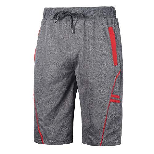 ZahuihuiM Fitness pour Hommes Body de Musculation rayé Short en Peau de Peau Été Lâche Pantalon de Sport à séchage Rapide