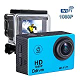 Wi-Fi 1080P Underwater Action Camera 12MP Waterproof Camera Full HD Camcorder with 2 Free Batteries, Portable Handbag and 20 Mounting Accessories Kit for Drond, Kids, Bike, Motorcycle, Helmet, Cycling, Diving, Snorkelling