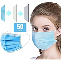 Generic 50PCs Disposable Face Mask Adaptable Nose Bar 3-Layer Protective Face Mask Soft Breathable Non-woven Fabric Earloop Mouth Face Mask Protection against Dust Particles Pollution (50 Pcs)