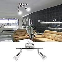 Homdox Applique de plafond LED, Plafonnier LED en acier inoxydable,3W/2 Spot[Classe énergétique A+]