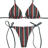 VJGOAL Damen Bikini Set, Frauen Mode Streifen Print Verband Gepolsterter BH Strand Halter Bikini Set Dünn Bademode (L, Green)