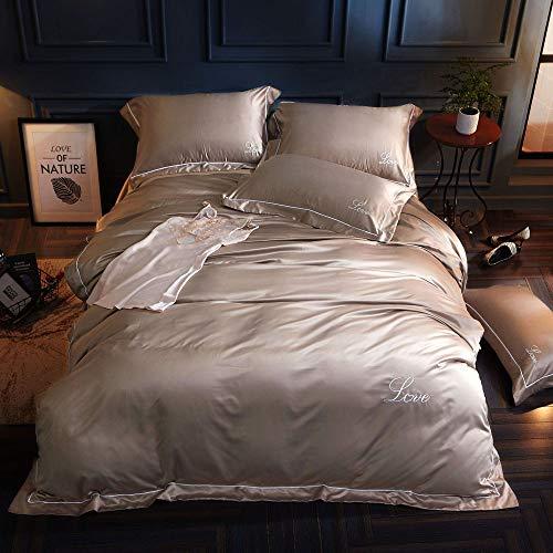 CPDZ 4 stücke Blatt Set 100% Baumwolle Blatt Quilt Abdeckung, Luxus bettwäsche bettbezug königin seidenbettbezug & kissenbezüge Set,Silver,L (Bettwäsche-daunendecke-abdeckung)